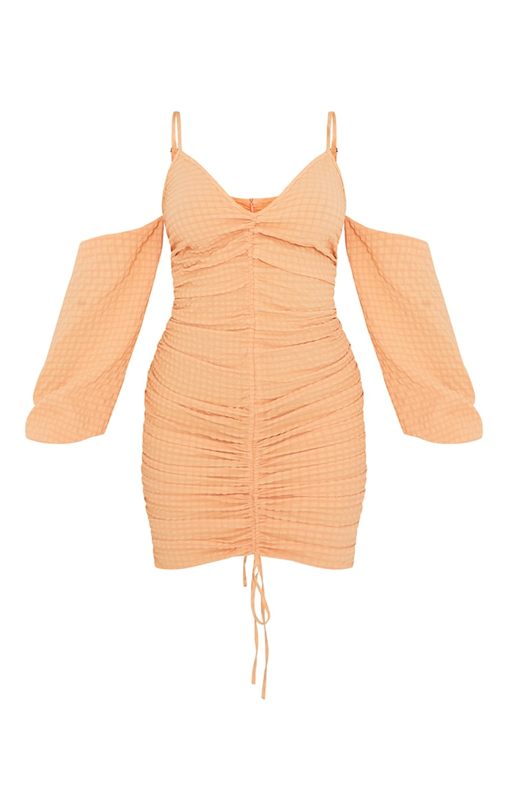 Tangerine Textured Cold Shoulder Ruched Bodycon Dress 5