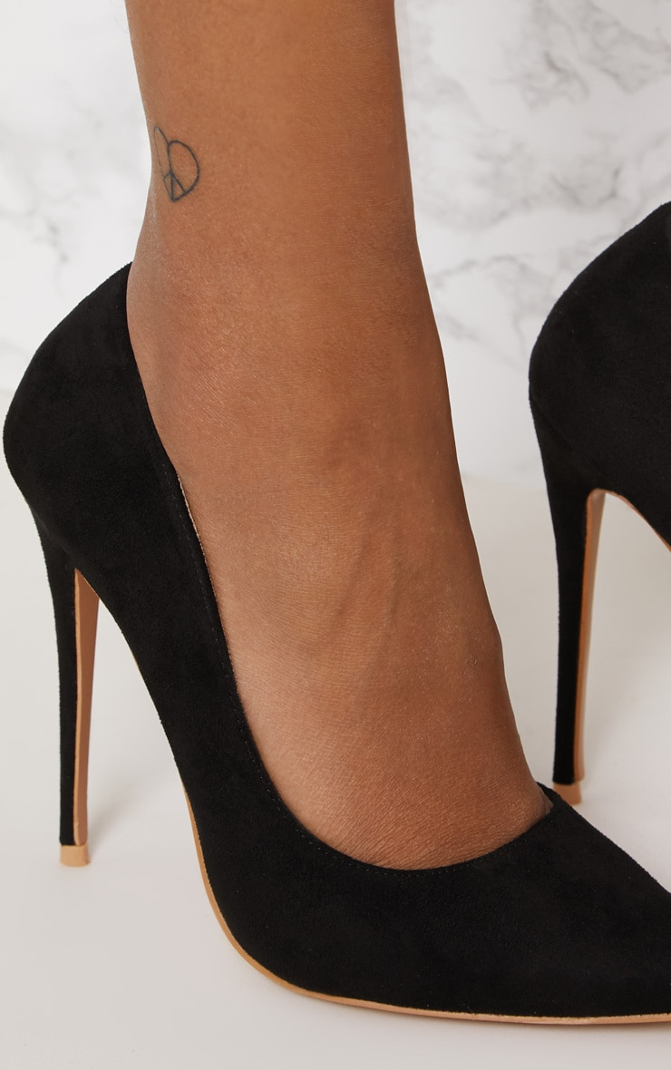 Black High Faux Suede Court 5