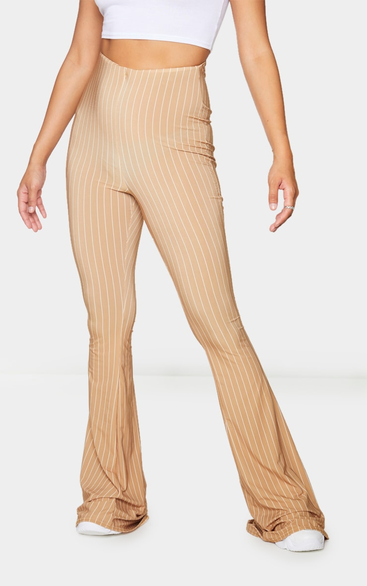 Camel Pinstripe Ruched Bum Slinky Flared Pants 2