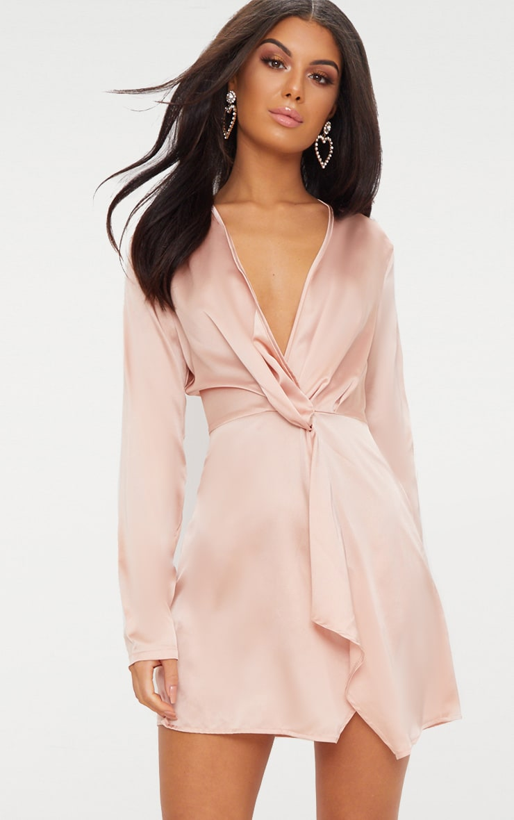 Nude Satin Long Sleeve Wrap Dress 1