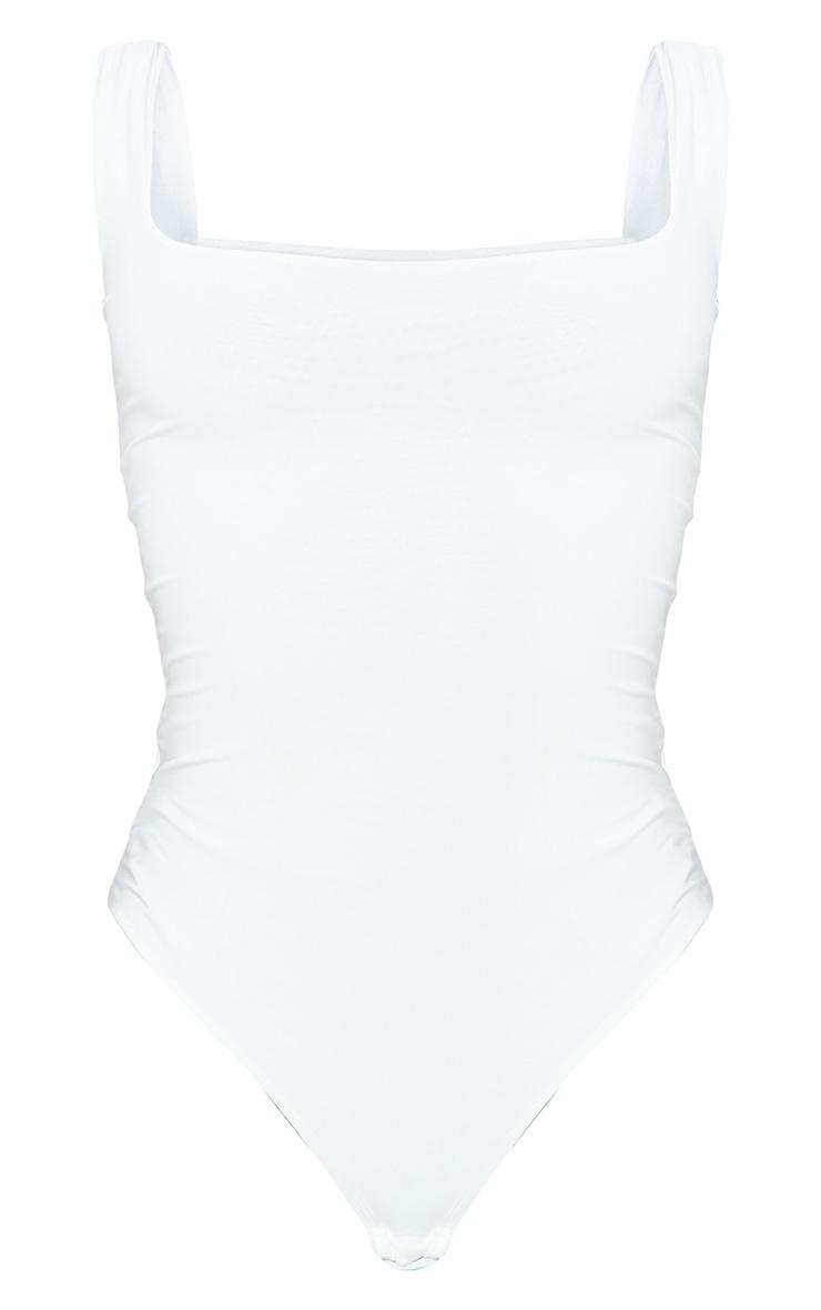 Tall - Body-string blanc seconde peau sans manches à col carré 5