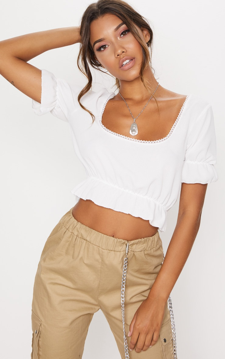 White Woven Square Neck Frill Crop Top  1