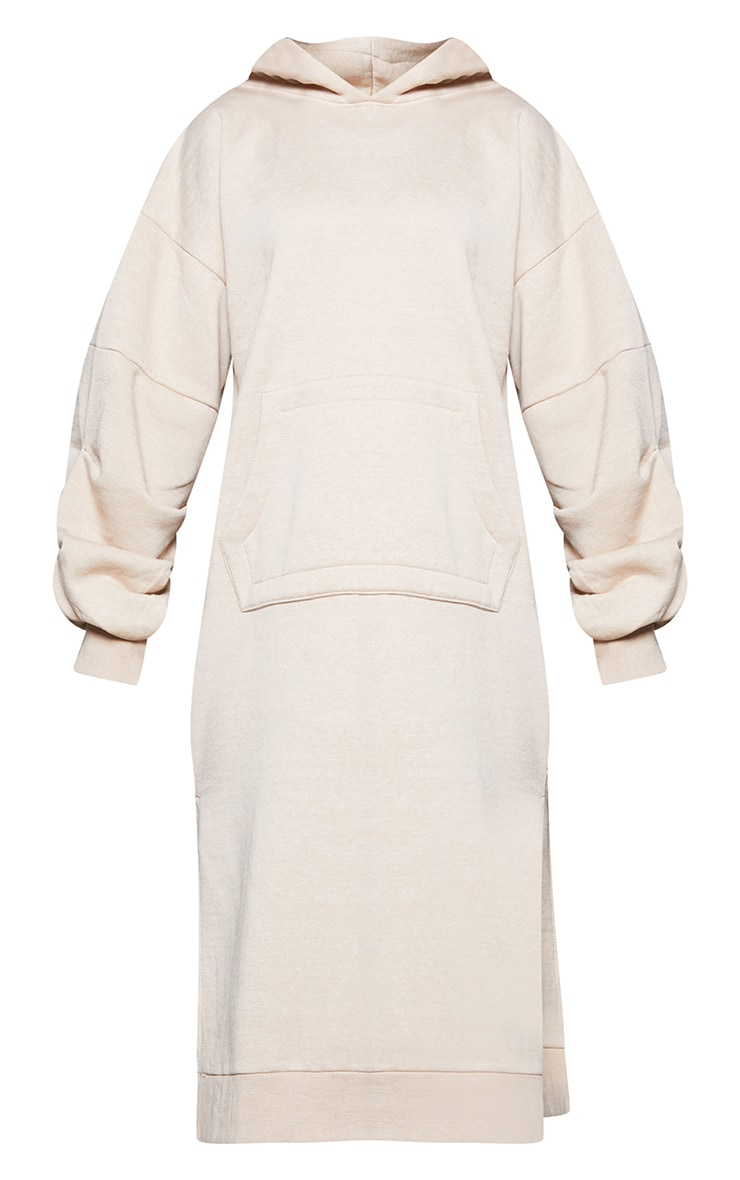 Beige Oversized Hooded Split Side Midi Dress 6