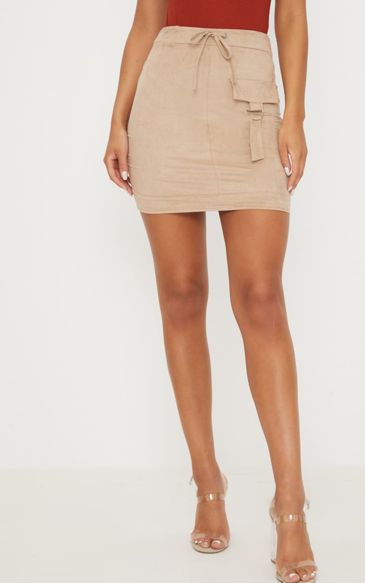 Stone Faux Suede Military Pocket Detail Skirt 2