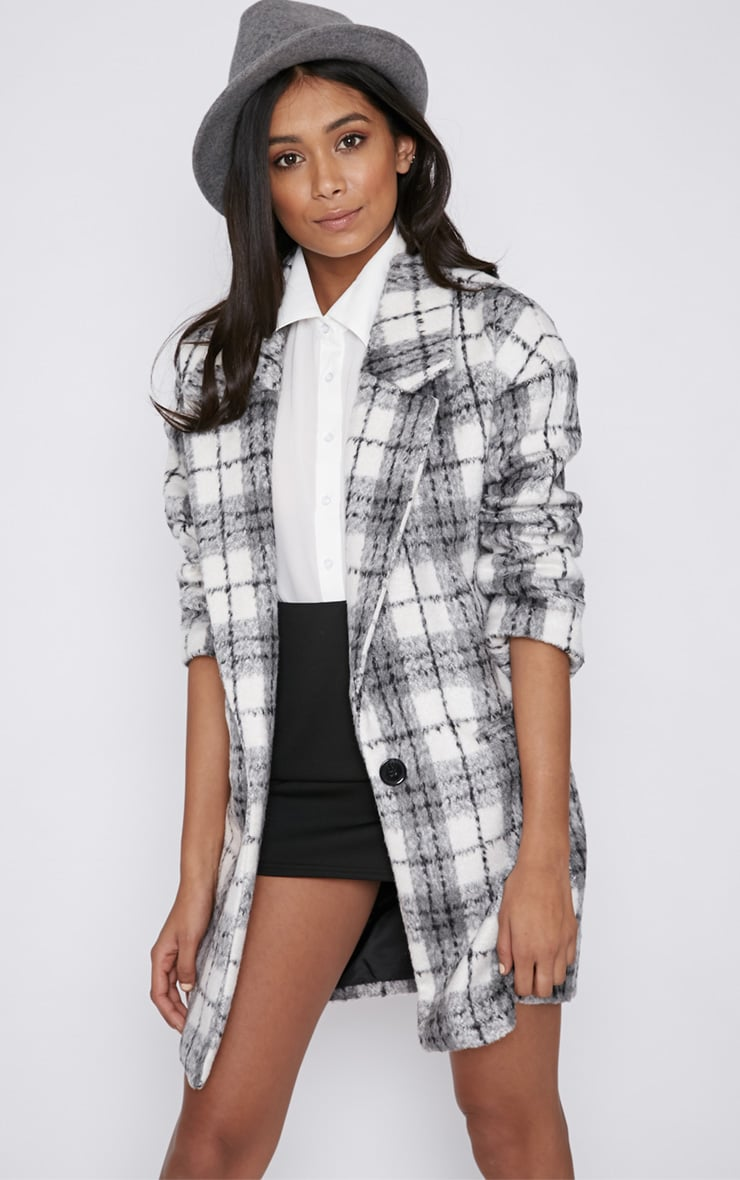 Ramsha Grey Checked Boyfriend Coat 1