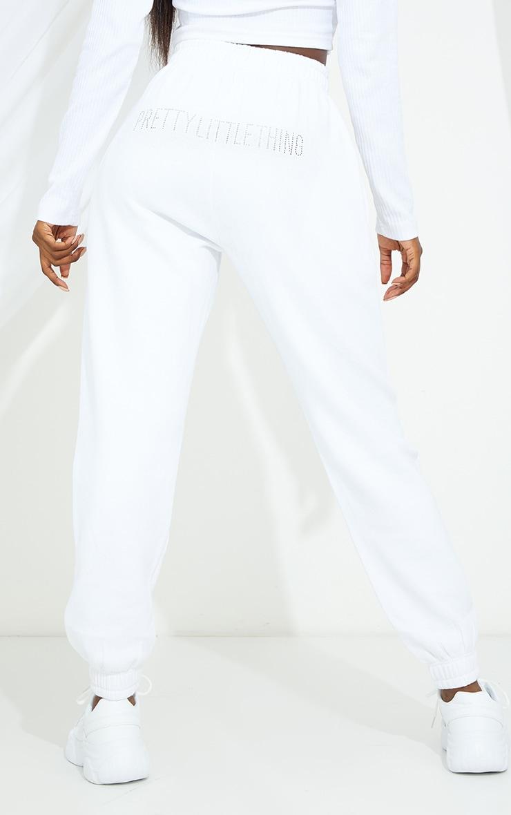 PRETTYLITTLETHING Tall White Diamante Jogger 3