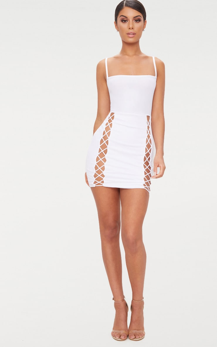 White Strappy Square Neck Lace Up Thigh Bodycon Dress 4
