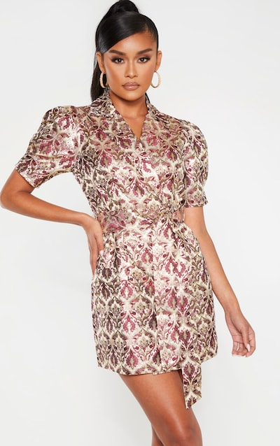 Multi Short Sleeve Jacquard Blazer Dress