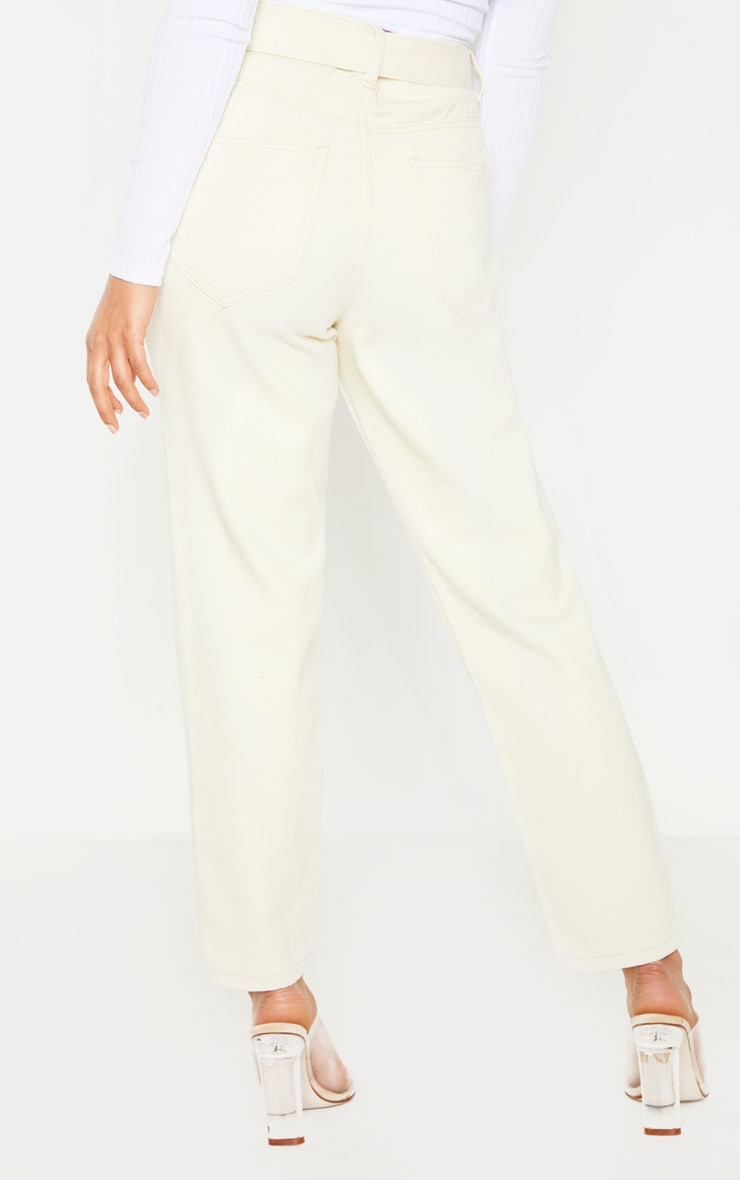 Petite Ecru Straight Leg Tie Belted Jeans 4