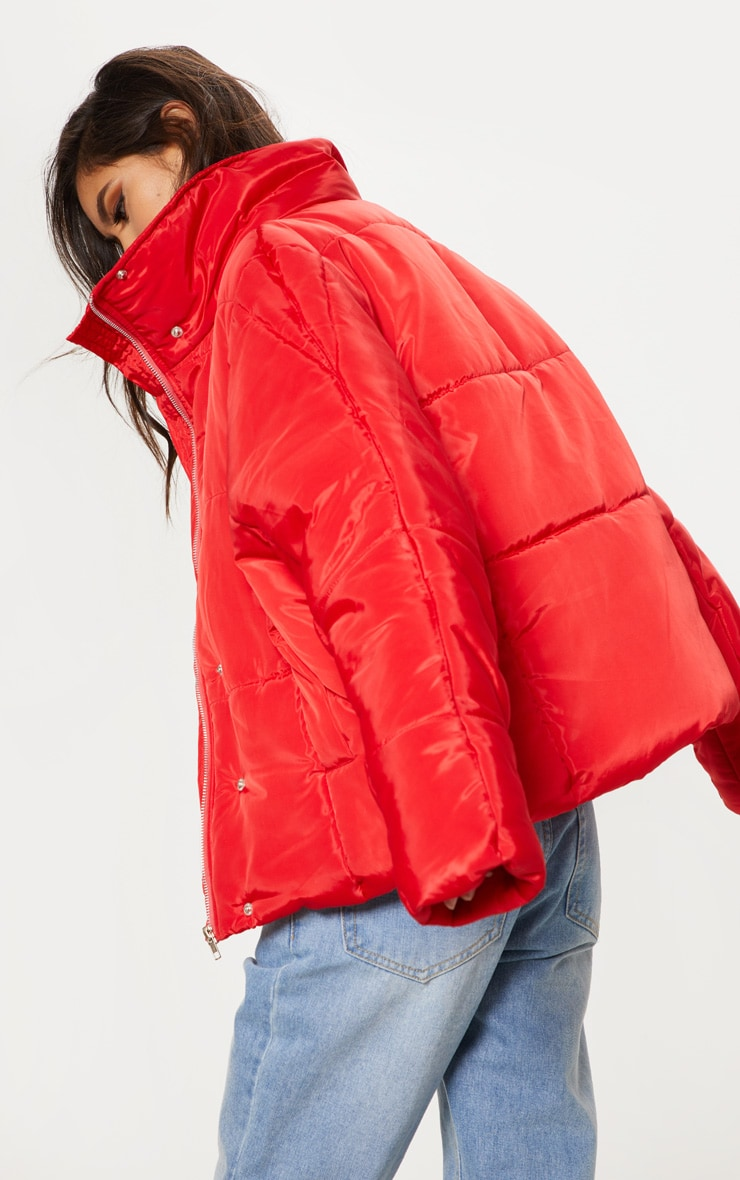 Red Oversized Funnel Neck Puffer 2
