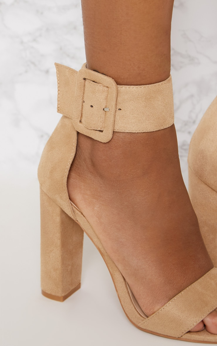 Nude Ankle Buckle Block Heel 5
