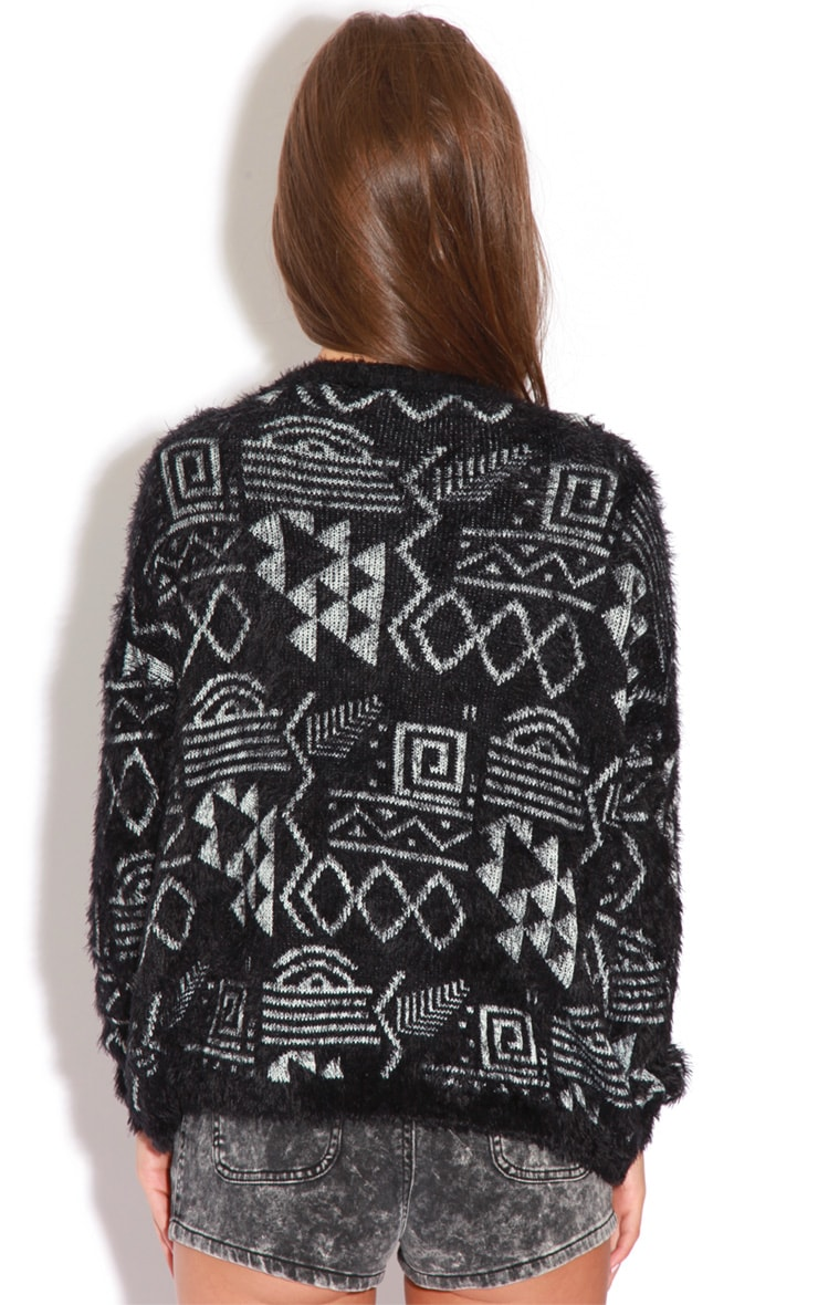 Sian Black And Grey Fluffy Mohair Aztec Print Jumper 2
