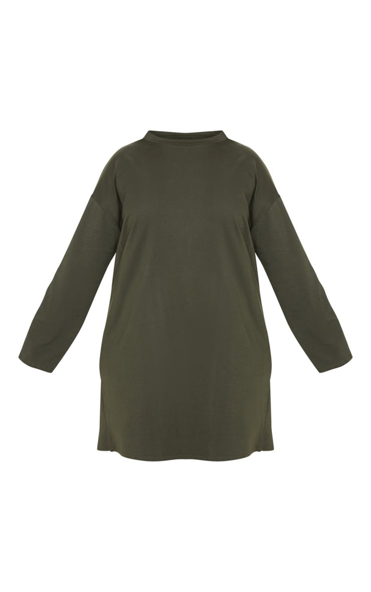 PRETTYLITTLETHING Plus Khaki Tape Long Sleeve T Shirt Dress 3