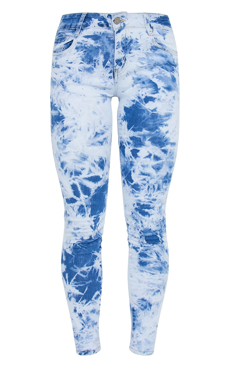 Blue Tie Dye 5 Pocket Skinny Jeans 5