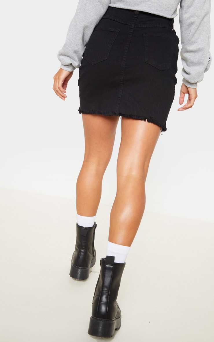 Petite Black Stretch Denim Skirt 4