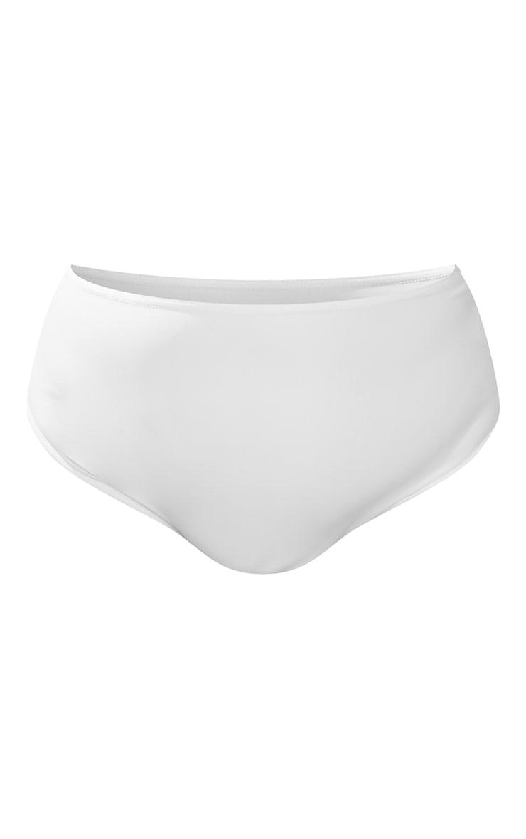 Plus White High Waist High Leg Bikini Bottom 5