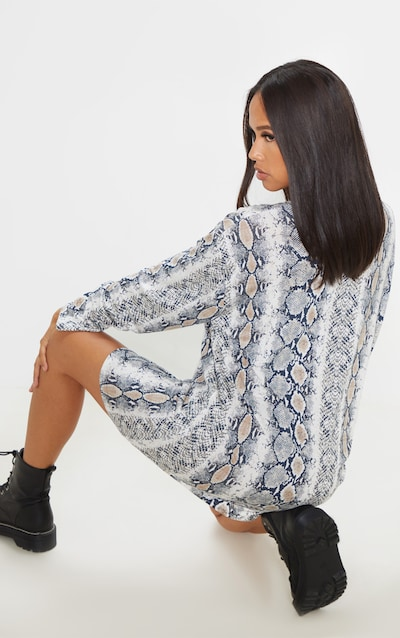 Grey Snake Printed Long Sleeve Oversized Boyfriend T Shirt Dress