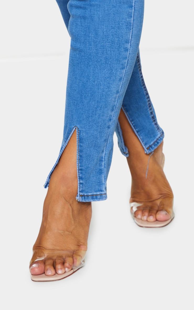 Plus Mid Blue Wash Split Front Skinny Jeans 4
