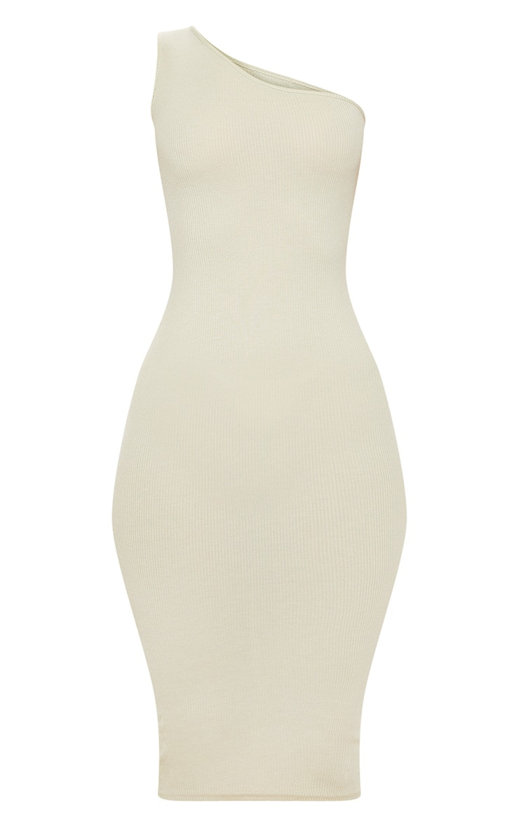 Sage Green Ribbed One Shoulder Midi Dress 3