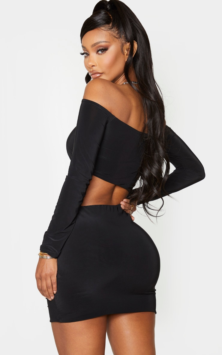 Shape Black Slinky Bardot Ruched Cut Out Bodycon Dress 2