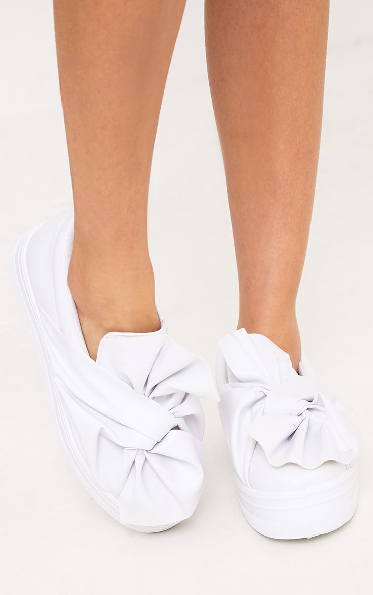 Wren White Bow Flatform Pumps 1