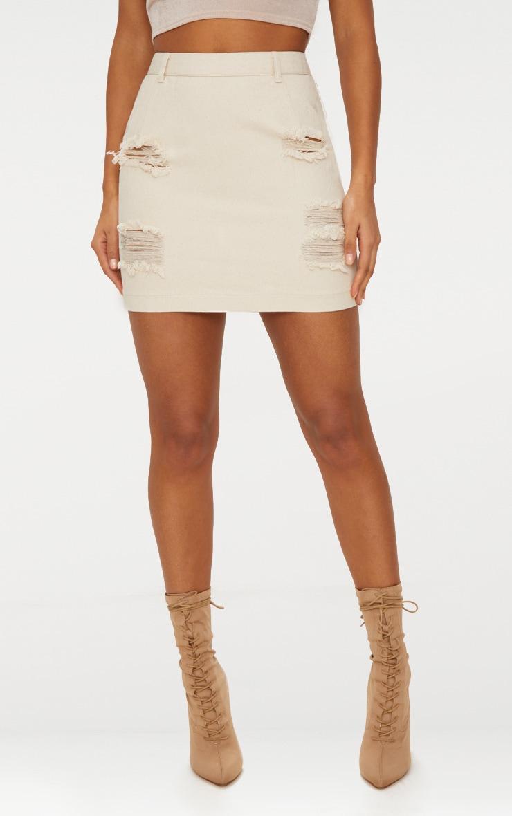 Ecru Roschian Distress Mini Skirt 2