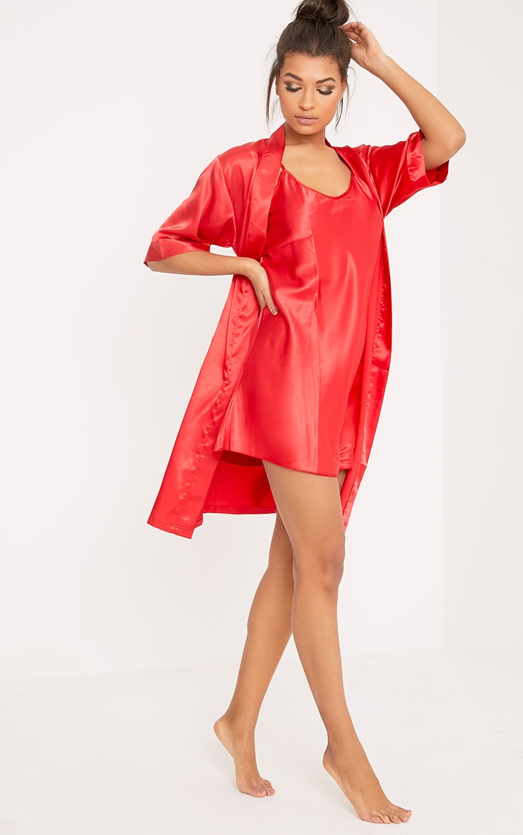 Cherrie Red Satin Nightie and Dressing Gown Set 2