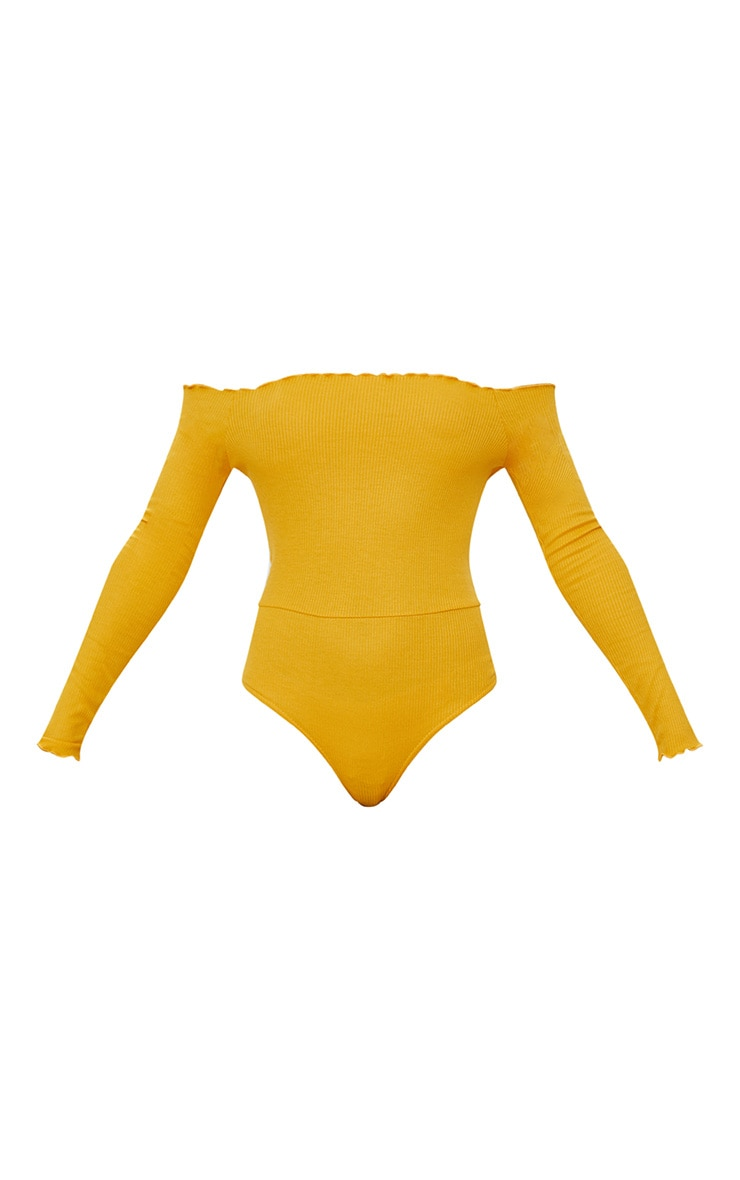 Mustard Frill Edge Long sleeve Thong Bodysuit  3