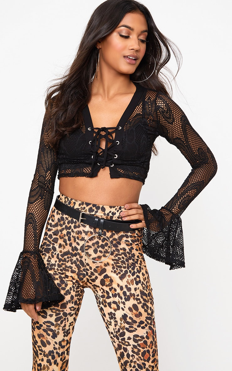 Black Fishnet Lace Up Flare Sleeve Crop Top 1