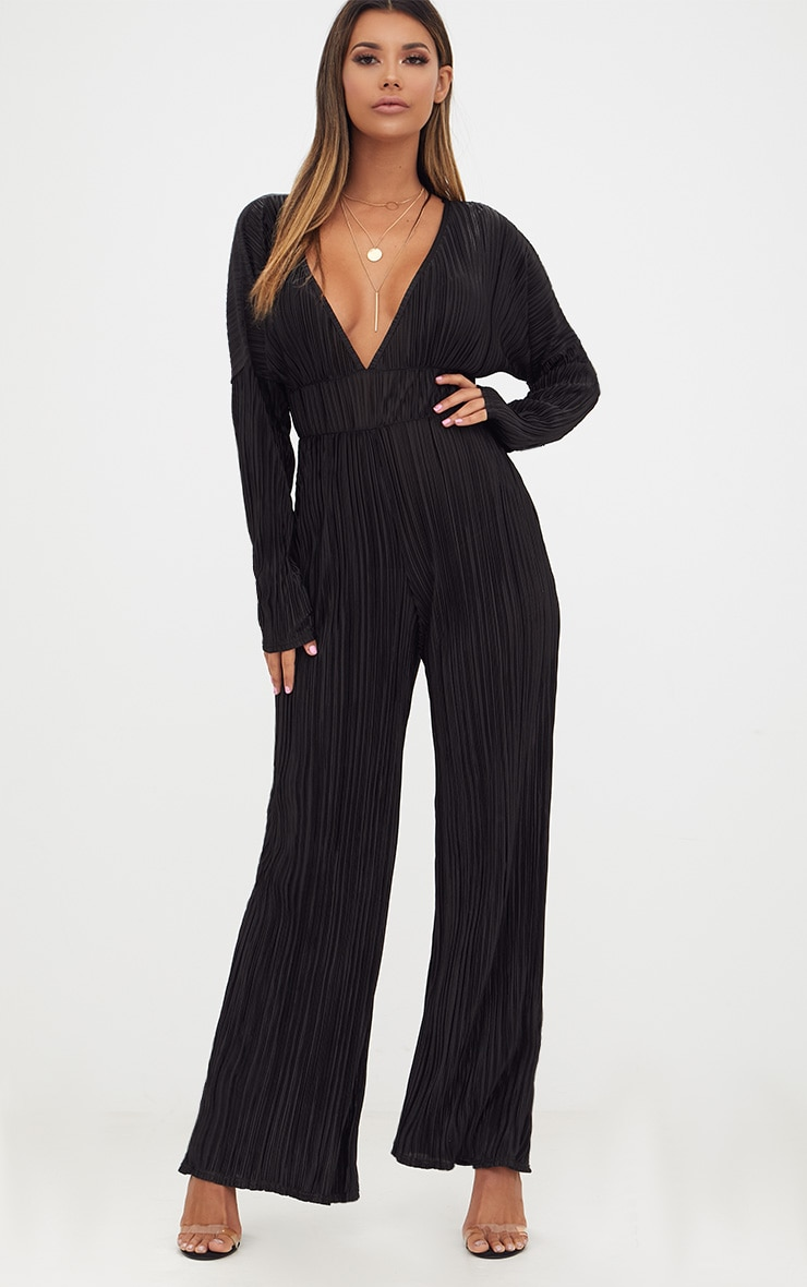 Black Long Sleeve Pleated Jumpsuit