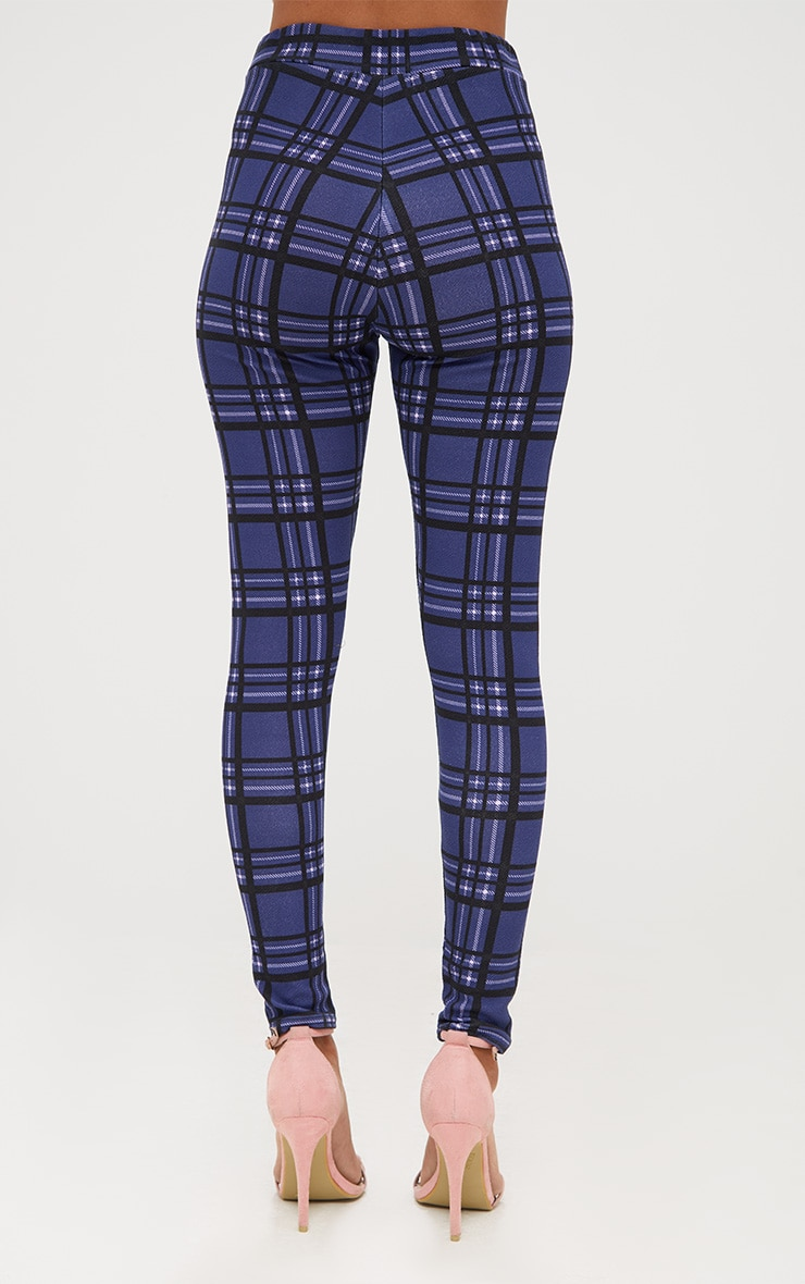 Navy Check Applique Skinny Trousers 4
