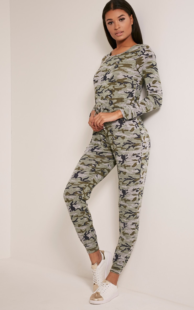 Lottie Khaki Camouflage Long Sleeve Casual Jumpsuit 1