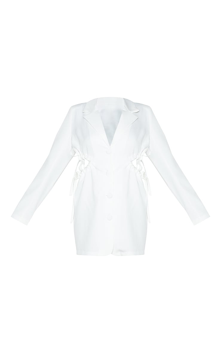 White Cut Out Waist Detail Button Down Blazer Dress 5