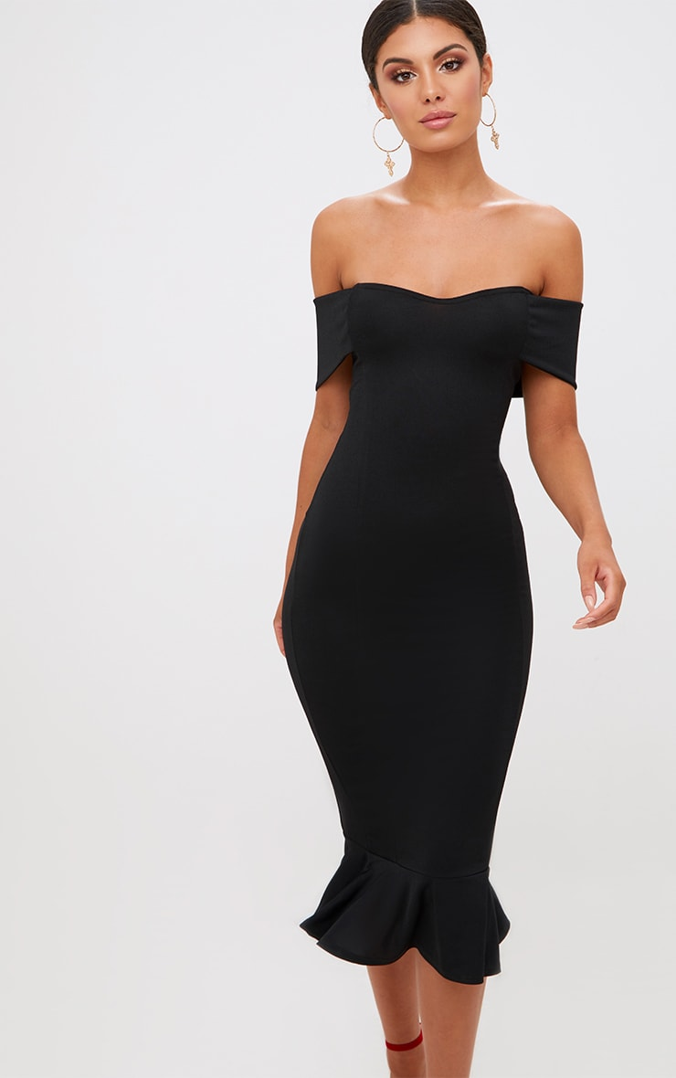 Black Bardot Frill Hem Midi Dress