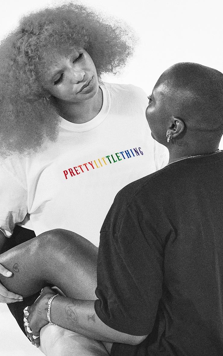 PRETTYLITTLETHING Plus White Pride Crop T Shirt 4