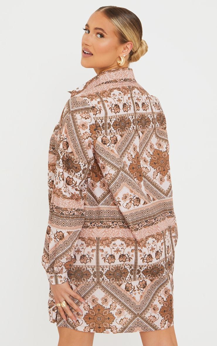 Maternity Brown Oversized Long Sleeve Smock Dress 2