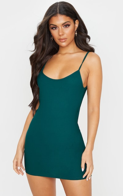 Emerald Green Strappy Low Back Bodycon Dress