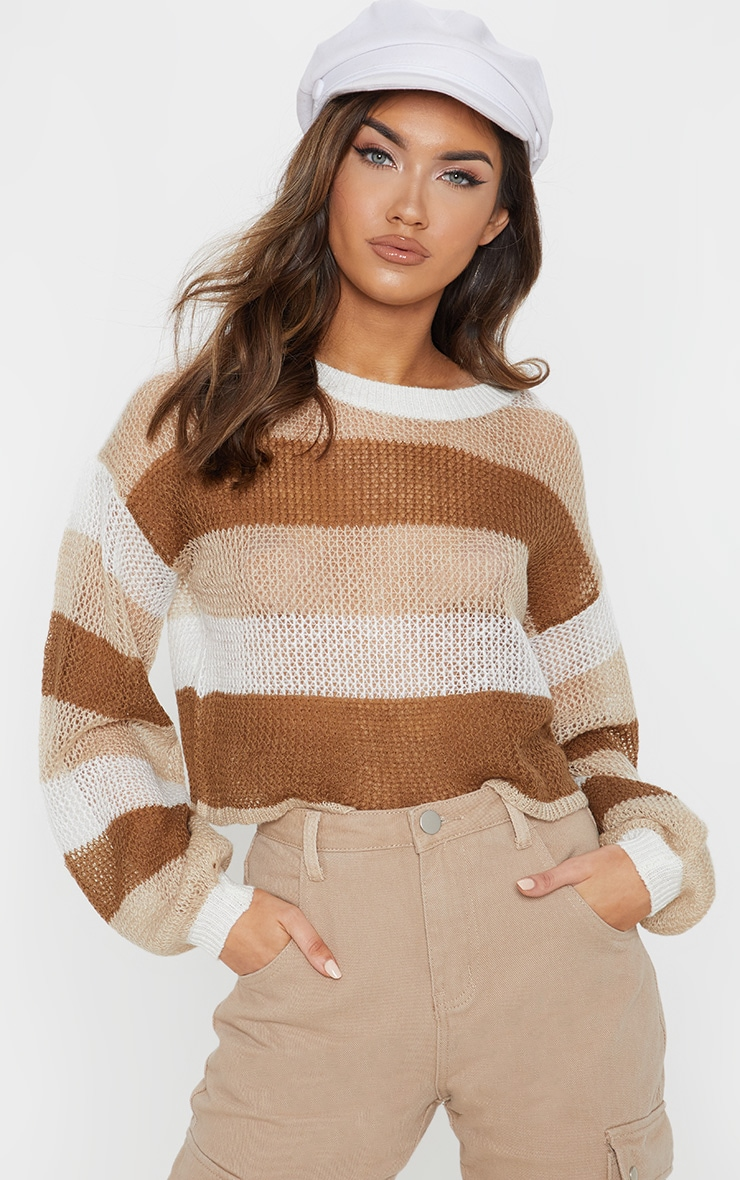 Cream Striped Knitted Cropped Laguna Jumper  1