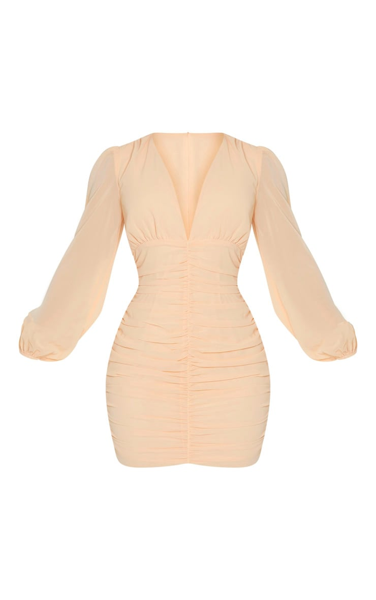 Nude Chiffon Ruched Long Sleeve Bodycon Dress 3