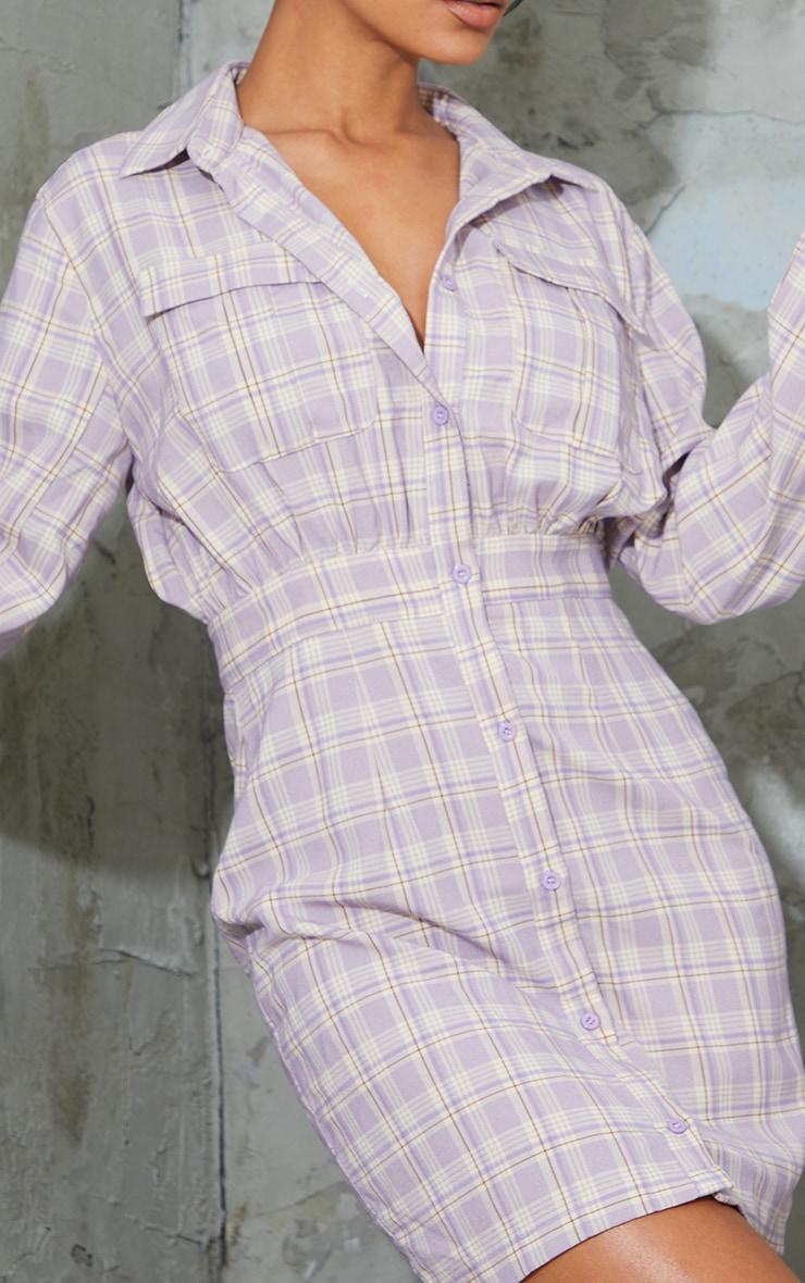 Lilac Check Print Gathered Waist Detail Shirt Dress 4