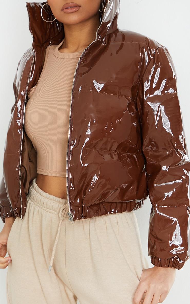 Chocolate Cropped Vinyl Puffer Jacket 4