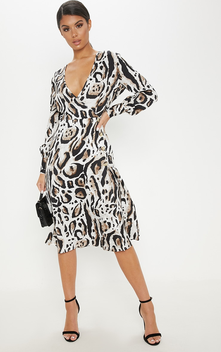 Beige Leopard Print Wrap Frill Midi Tea Dress