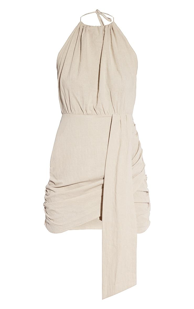 Oatmeal Linen Look Drape Detail Bodycon Dress 5