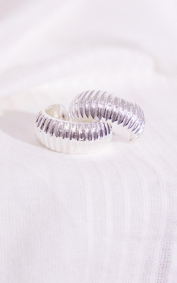 Silver Thick Ribbed Hoop Earrings 3