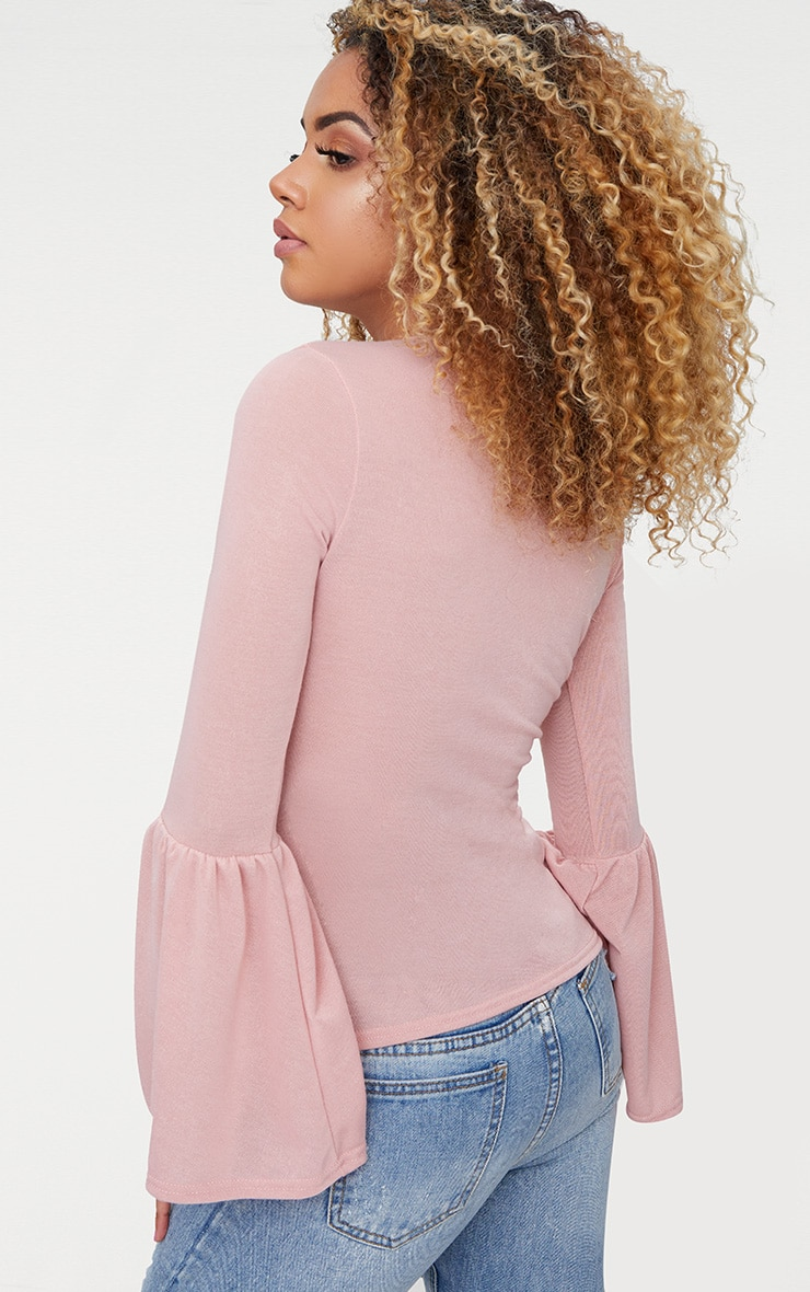 Pink Flare Sleeve Knitted Top 2