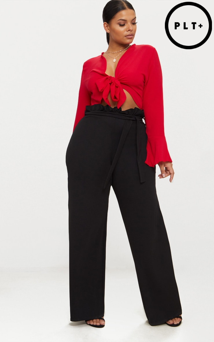 Plus Black Wide Leg Trousers 1
