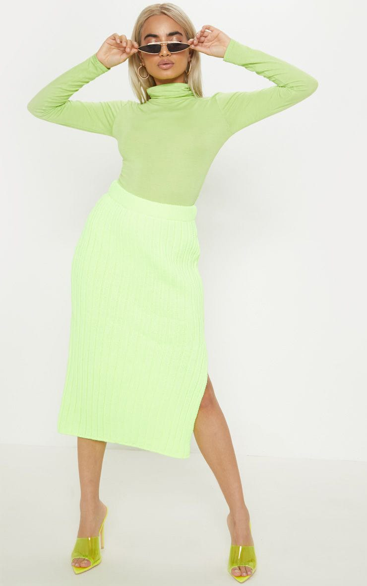 Petite Knitted Neon Lime Ribbed Midi Skirt 1