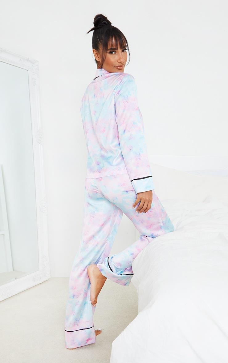 Tie Dye Satin Long Sleeve Shirt And Trousers PJ Set 2