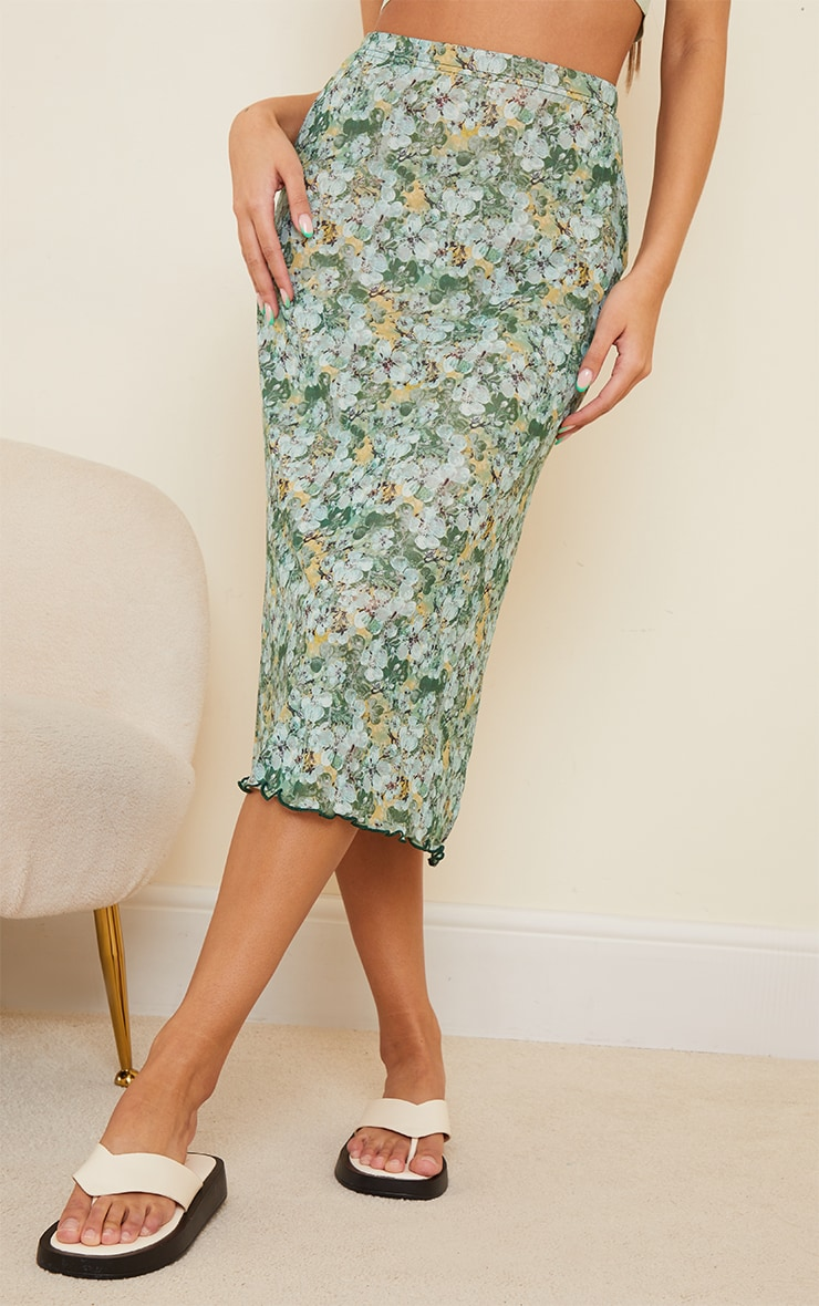 Green Floral Mesh Midi Skirt 2