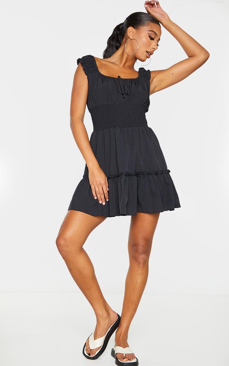 Black Chiffon Shirred Waist Frill Detail Shift Dress image 3